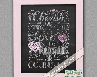 Hand-Lettered Scripture art printable Psalms Bible verse adult coloring page Scripture art printable wall decor Bible journaling printable
