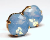 Blue Opal Crystal Stud Earrings Classic Sparkling Pale Pastel Baby Sky Solitaire Swarovski 12mm or 10mm Sterling Post Copper Gifts Under 20