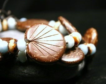Coconut Shell Leaf Necklace Chocolate Cocoa Brown Carved Palm Frond Aqua Blue Green Amazonite Gemstone and Ivory Glass Sterling Silver Funky