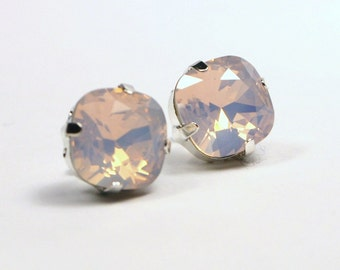 Pink Opal Crystal Stud Earrings Classic Sparkling Rose Water Pastel Baby Solitaire Swarovski 10mm Sterling Post & Copper - Women's Jewelry