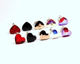 Swarovski Crystal Heart Stud Earrings Classic Petite Sparkling Solitaire Swarovski 10mm Love Red Pink Rose Gold Black Sterling Silver Post