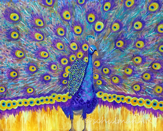 Peacock Painting   Peacock art Decor   original Large Wall Art   turquoise teal blue yellow   bird art   canvas art