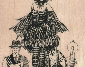 steampunk collage   rubber stamp  whimsical  Rubber Stamp by Mary Vogel Lozinak  tateam EUC team  19360
