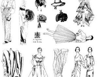 unmounted rubber stamp plate retro woman friends fashion    tateam EUC team   no.552
