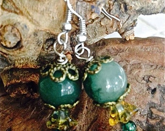 Green  agate earrings Czech glass flowers  pierced gemstone gift for her Mothers Day easter gift