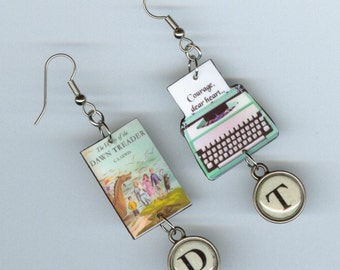 Book Cover Earrings - The Voyage of the Dawn Treader Quote -Typewriter key jewelry - mismatched earring designs by Annette