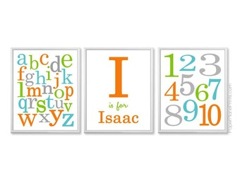 Teal Lime Orange Grey, Baby Boy Alphabet Wall Art, Matching Numbers, Nursery Art Print Set, Kids Wall Art, Childrens Room Decor, 11x14