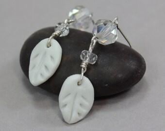 Porcelain Sterling Silver Leaf Earrings - Vintage Glass Crystal Beads - Lever Back Ear Hooks - Handmade Beads