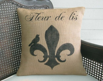 Fleur de lis with Bird - Burlap Pillow - Fleur de Lis Pillow - French County Decorative Pillow