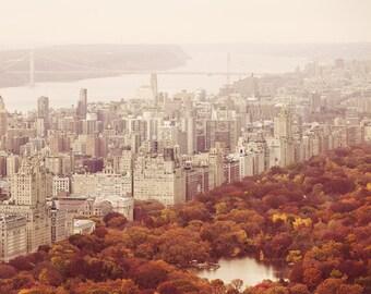 Autumn in New York - Central Park, NYC Photography,  Autumn Decor, Fall Foliage, NYC Art, Fall Photography, Orange Home Decor