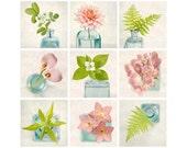 Flower Print Set, Flower Photography Art Set, Green, Pink, Aqua, Floral Wall Decor, Photo Set, Gallery Wall Art Set