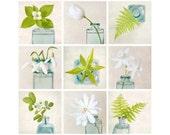 Botanical Print Set, Flower Photography Art Set, Green, White, Teal, Floral Wall Art, Photo Collection, Gallery Wall Art Print Set