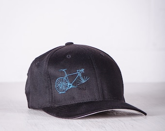 BIKE WRECK! Vital Bicycle Flexfit Fitted Cap Teal on Black Small/Medium 010