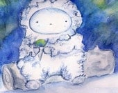 Snowcone Break, Yeti original painting