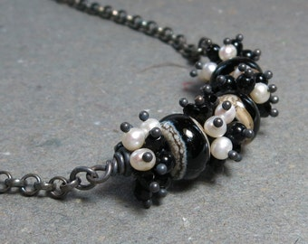 Black & White Necklace Lampwork, Black Onyx, Pearls Cluster Oxidized Sterling Silver Necklace Gift for Wife