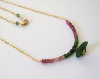Tourmaline Necklace, Raw Green Tourmaline Nugget, Ombre Pink and Green Tourmaline, Delicate Row Necklace