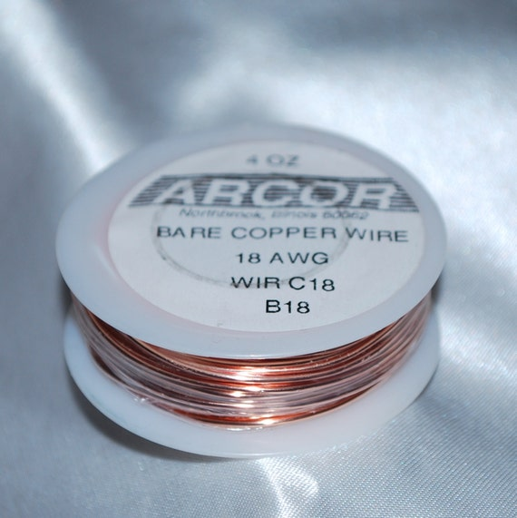 18 gauge - 4 oz Spool of Bare Copper Wire 18 Gauge thick (( 49.7 feet )) Solders EASILY for Accents in Jewelry Making