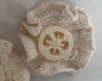 Crochet Cotton Edged Loofah Scrubbie natural loofah and cotton