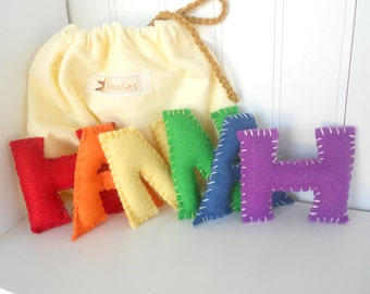 Alphabet Felt Letters, Personalize, Natural Eco Friendly, Waldorf Soft Plush Educational Set of 6 Letters, Choose  Letters, Back To School