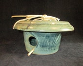 bird house in gray green, stoneware pottery, yard decor art