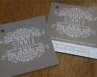 """250 Custom Printed 2"""" Hangtags  - Great High End Quality - Professionally Printed - Super Thick 14pt Cardstock"""