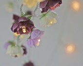 Reserved for Mollymag - Rose Fairy Lights in Magenta Lilac and Apple White Rambling Rose String Garland Flower Lights