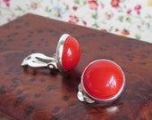 Fused Glass Clip On Earrings, Tomato Red Clip-On Button Earrings For Unpierced Ears