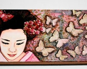 Geisha, Mixed Media, Butterfly, Japanese Girl, Stretched Canvas, Art Original, Canvas Art, 14 x 7 Canvas
