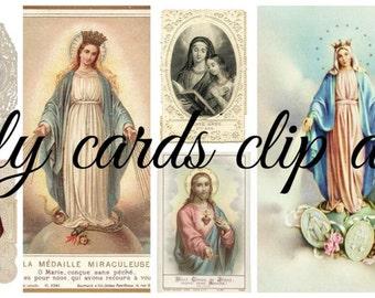 Holy Cards - Printable digital download - clip art -16 images