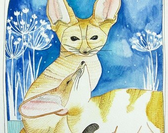 Sale - Painting - Original Painting - Watercolor Painting - Original Art - Fox Art - Fennec Fox Painting - Fennec Foxes - Two Foxes