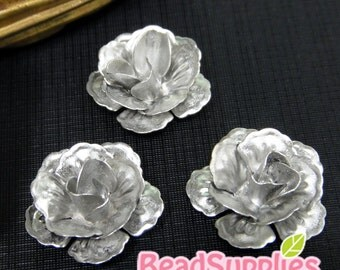 CH-ME-09293- Nickel Free,Silver plated, 3D Rose, 4 pcs