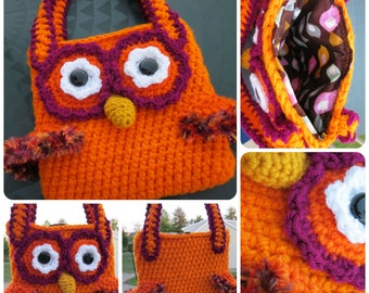Crochet Owl Purse (Owl Bag) in Orange with Magenta