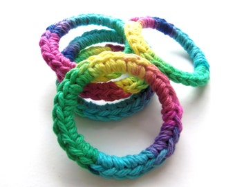 Cat and Ferret Toys, Recycled Rings Toy, Blue Green Yellow Pink Purple, Gift for Cats and Ferrets