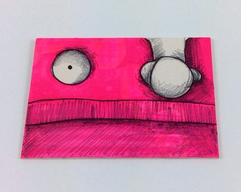 Pink Monster ACEO by Aaron Butcher