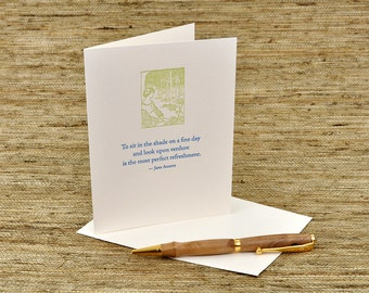 To sit in the shade on a fine day... - Jane Austen quote - letterpress card