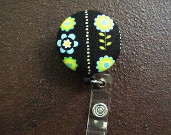 Clip on Retractable Badge Reel / Lanyard with Fabric Covered Button - Flowers on Black