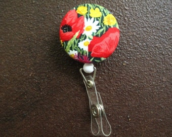 Clip on Retractable Badge Reel / Lanyard with Fabric Covered Button - Bouquet of Flowers