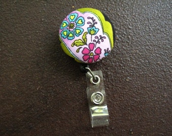Clip on Retractable Badge Reel / Lanyard with Fabric Covered Button - Flowers