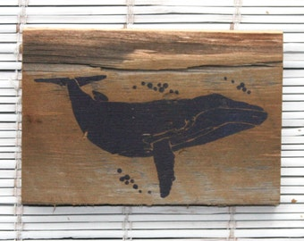 Whale Wall Hanging on Reclaimed Barn Wood