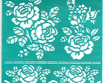 Stencil Stencils Pattern Template, Pochoirs, Reusable, Adhesive, Flexible, for polymer, fabric, wood, glass, cards | BIG ROSE | 6 inch/15 cm