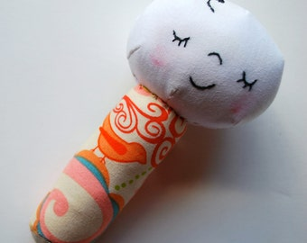 Baby on a Stick--Baby Face Rattle in Colorful Pink Whimsical Print - Baby Toy - Teether - Machine Washable - Sweet - Stocking Stuffer