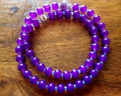 Double HOPE 54 bead Mala Purple Prayer Bracelet (7-8 inches) - 100% donation to Cancer research