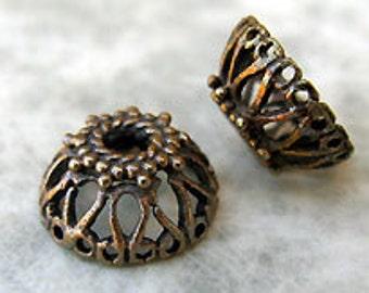 2 Antique Brass Filigree Bead Caps, 10mm -Set of 2