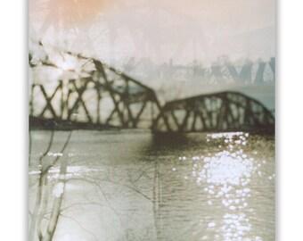 hazy: canvas gallery wrap. ready to hang photo. large wall art. 24x30 16x20 11x14 8x10 fine art surreal bridge photography. pittsburgh art.
