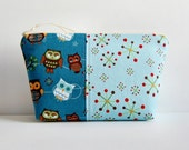 Zippered Pouch Makeup Bag Cosmetic Case Toiletry Storage Hooty Hoot Owl Roll Call in Blue Riley Blake