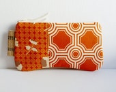 Clutch Purse Zipper Pouch Tossed Flowers in Rust and Tiles in Rust Joel Dewberry Ginseng