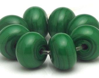 Handmade Lampwork Spacer Beads Deep Emerald Green SRA