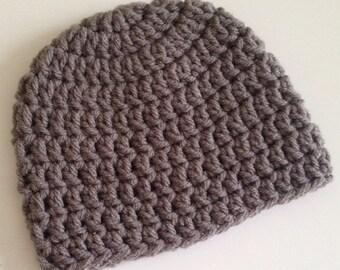 Crochet Baby Hat Medium Gray
