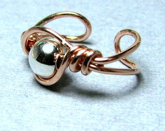 Ear Cuff 14k Rose Gold Filled and Sterling Silver ear jewelry non pierced cartilage earring choose your bead