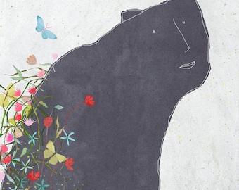 Creature H - Art -Print of an original illustration - animal - nature - flowers